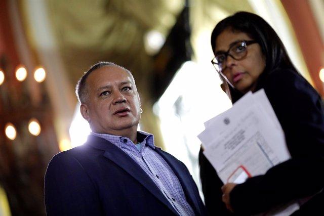 Diosdado Cabello y Delcy Rodríguez
