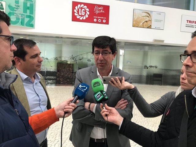 El portavoz de Cs Andalucía, Juan Marín, en un acto con Asaja