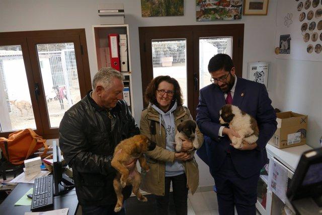 Sánchez Cabrera y la presidenta de la protectora, con los canes.