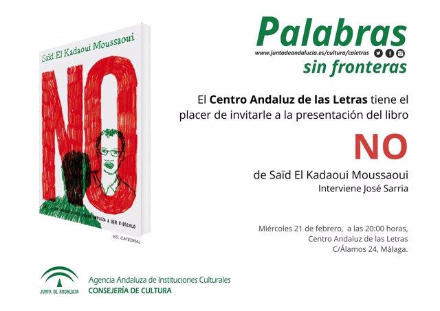 Cartel de presentación del libro 'NO' en el ciclo Palabras sin fronteras del CAL