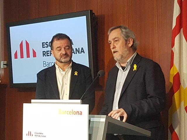 El líder de ERC, Alfred Bosch, y el concejal Jordi Coronas
