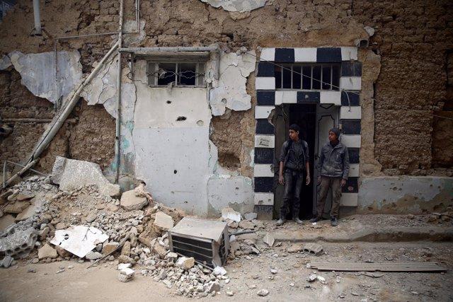 Edificios destruidos en Duma, en Ghuta Oriental