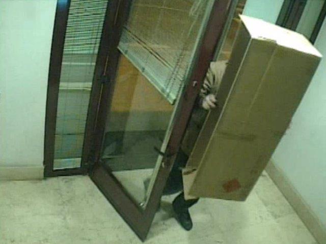 Intento de robo en un cajero de Quel tapado con caja de cartón