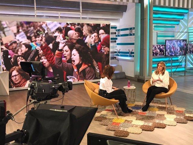 La presidenta de la Junta de Andalucía, Susana Díaz, entrevistada en Telecinco