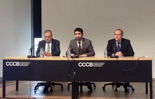 Jordi Puigneró, Manel Sanromà y Xavier Furió en el CCCB.