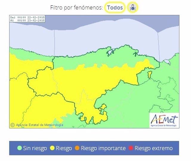Riesgo por bajas temperaturas en Cantabria. 22 de febrero