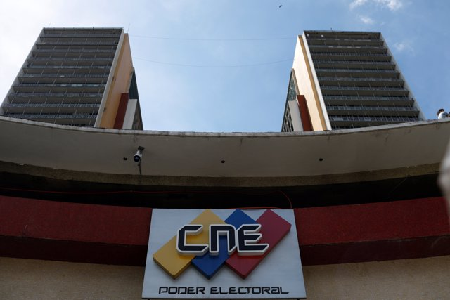 The logo of the National Electoral Council (CNE) is seen in its headquarters in