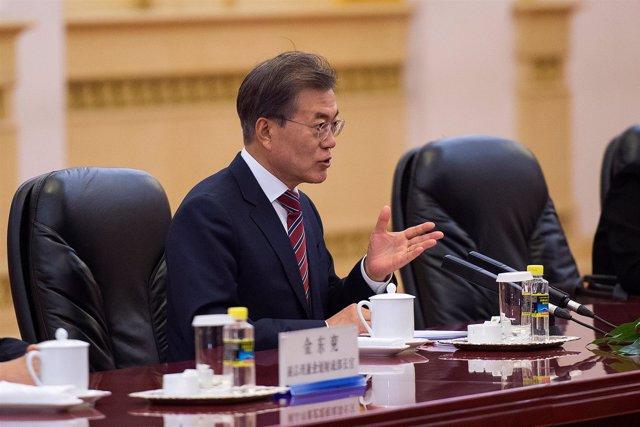 El presidente de Corea del Sur Moon Jae-in en Beijing, China