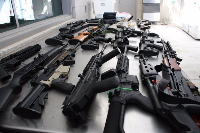Armas incautadas en la frontera entre EEUU y México