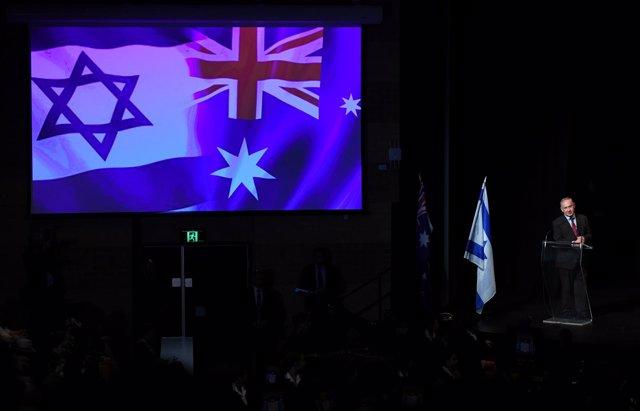 El primer ministro israelí Benjamín Netanyahu en Sídney, Australia