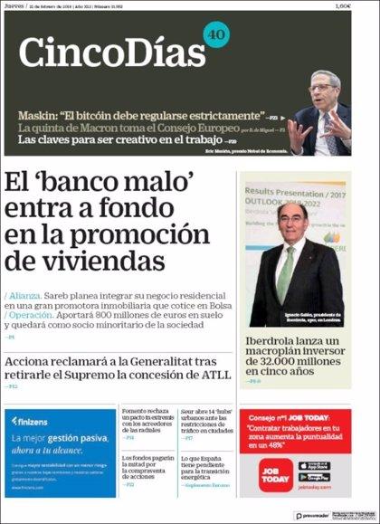 Las portadas de los periódicos económicos de hoy, jueves 22 de febrero