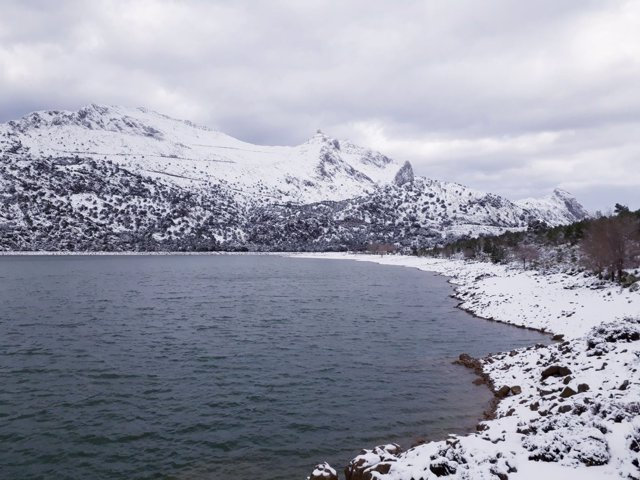 Gorg Blau, embalse, agua, nieve, Serra Tramuntana, Cúber