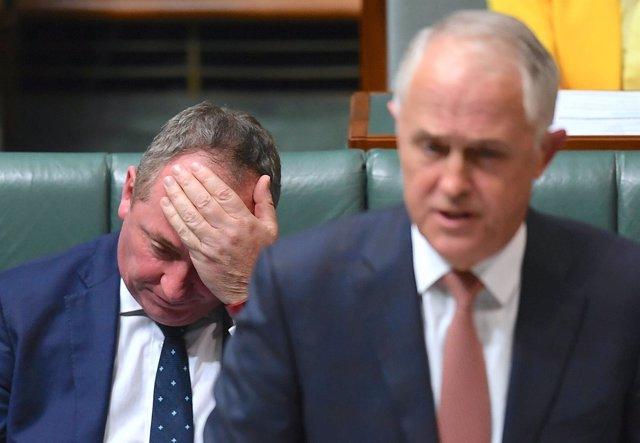 Barnaby Joyce en un momento del discurso parlamentario de Malcom Turnbull