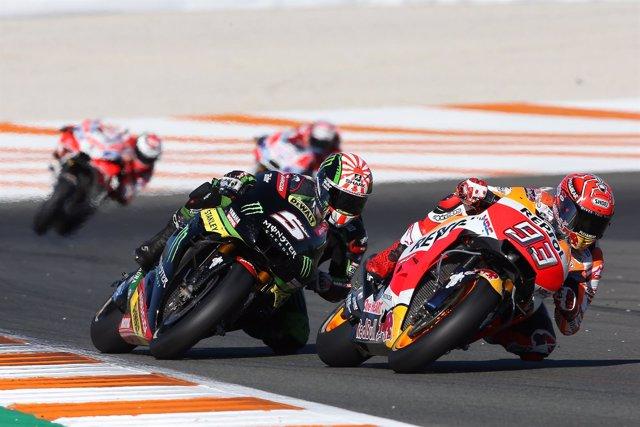 Marc Márquez (Repsol Honda) y Johann Zarco (Yamaha Racing)