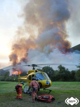 Incendio forestal en Degaña