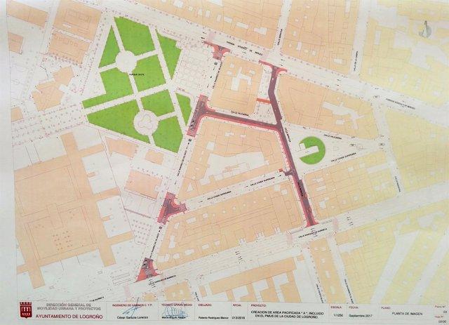 Plano del proyecto de Area Pacificada en la zona oese