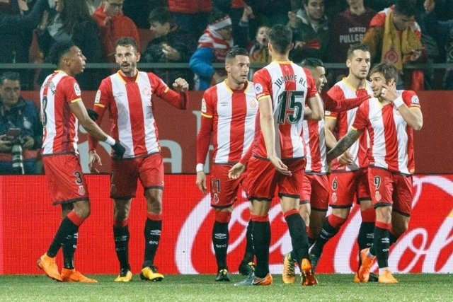 El Girona celebra un gol en Montilivi