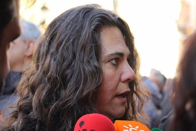 La responsable de Acción Política de IULV-CA, Gertrudis Vargas, en la protesta