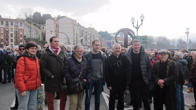 Arnaldo Otegi en la manifestación de pensionistas en Bilbao