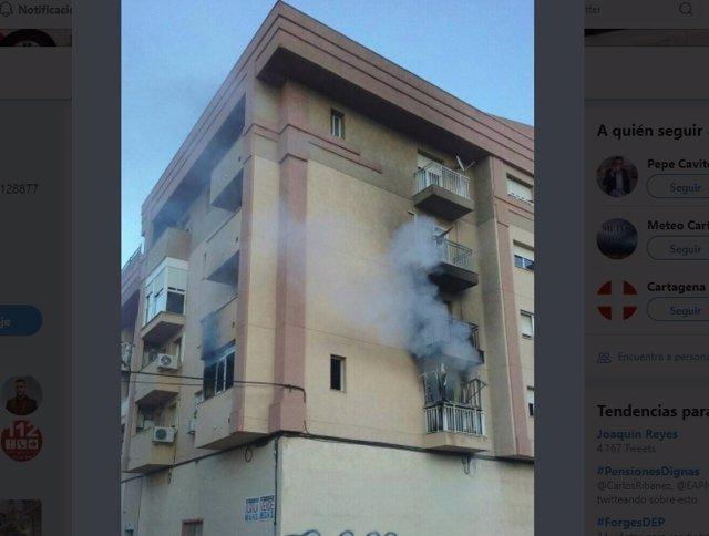 Imagen de la vivienda afectada por las llamas