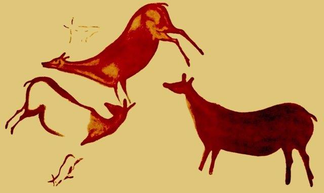 Ciervas pintadas en rojo en la cueva La Pasiega
