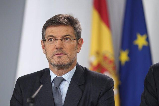 Rafael Catalá en una rueda de prensa tras el Consejo de Ministros