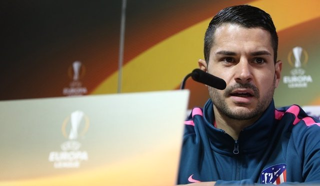 Vitolo (Atlético) en rueda de prensa de Europa League