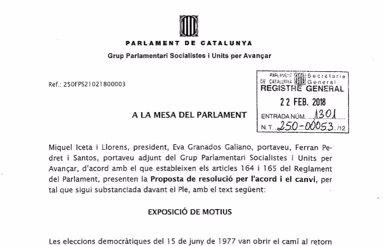El PSC presenta una resolució per activar el compte enrere per a una investidura (EUROPA PRESS)
