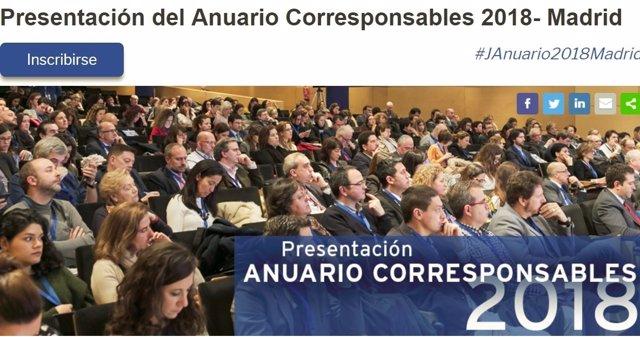El Anuario Corresponsables 2018 se presenta la próxima semana en Madrid en una j