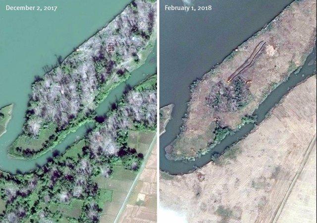 Imágenes del antes y el después de la demolición de aldeas rohingyas en Rajine