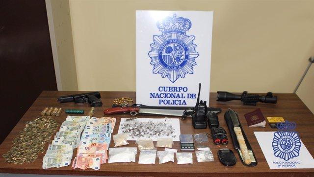 Material intervenido por la Policía Nacional