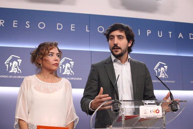 Declaraciones de los diputados de Ciudadanos Marta Martín y Toni Roldán