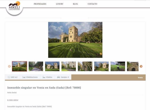 Web de la inmobiliaria en la que está a la venta el Pazo de Meirás
