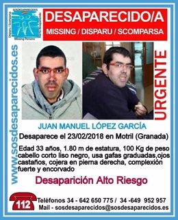Buscan a un joven con una discapacidad física desaparecido