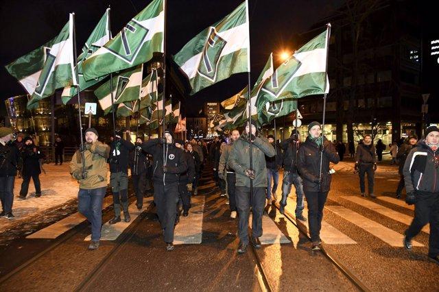 Miembros del grupo neonazi Movimiento Nórdico de Resistencia