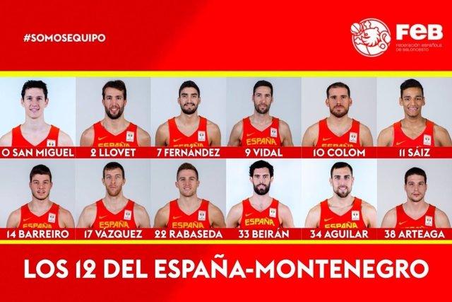 Lista convocados España montenegro baloncesto