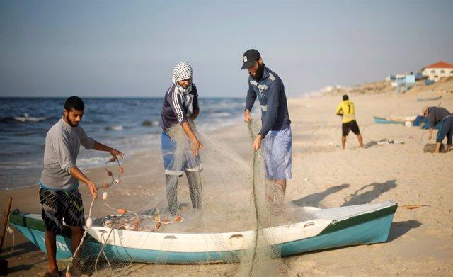 Pescadores palestinos en Gaza
