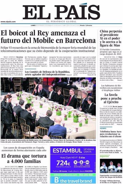 Las portadas de los periódicos de hoy, lunes 26 de febrero