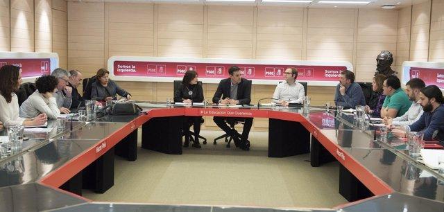Pedro Sánchez, en una reunión con la Plataforma Estatal por la Escuela Pública
