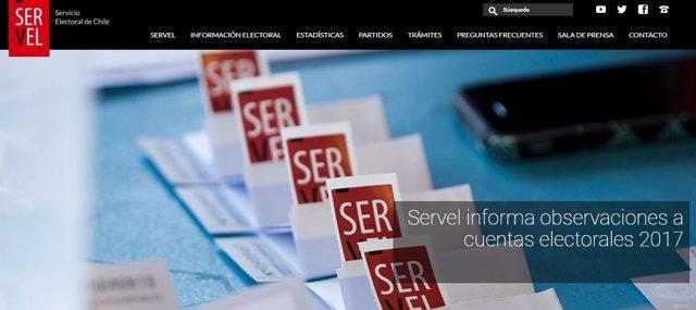 Página web del Servel