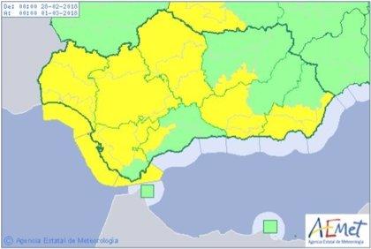 Aviso amarillo por lluvias en Huelva y Sevilla y por viento en las ocho provincias andaluzas