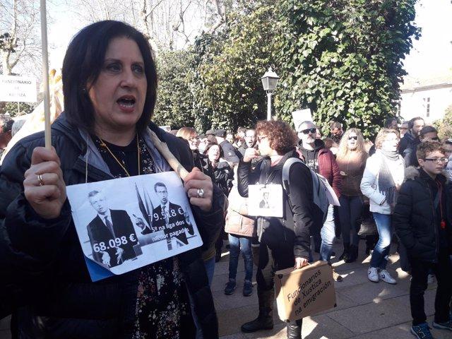 Protesta funcionarios de justicia