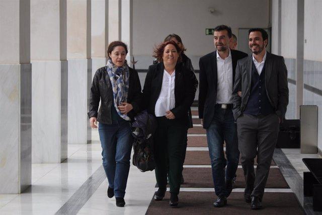 Alberto Garzón con diputados andaluces en el 28F