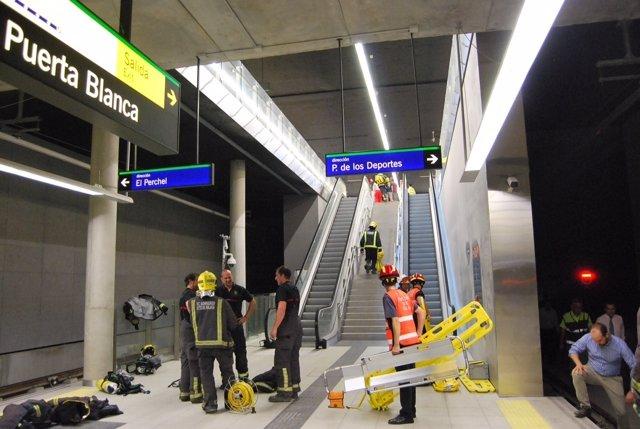 Simulacro en el metro de Málaga
