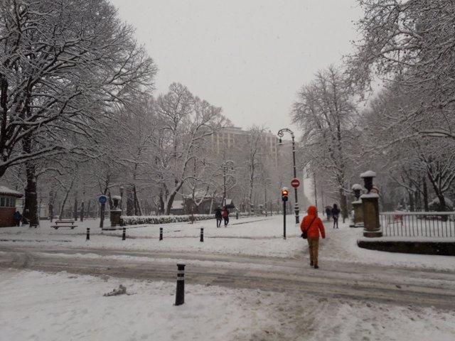 Pamplona con nieve.
