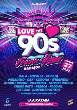 Cartel de Love the 90s en Badajoz
