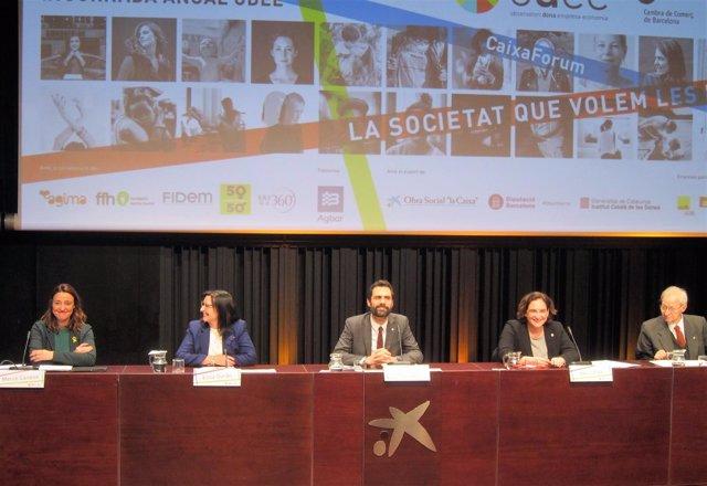 Mercè Conesa, Elisa Durán, Roger Torrent, Ada Colau, Miquel Valls