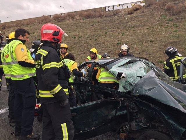 Estado de uno de los vehículos implicados en el accidente