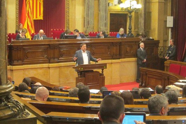 Oriol Junqueras en el pleno del Parlament