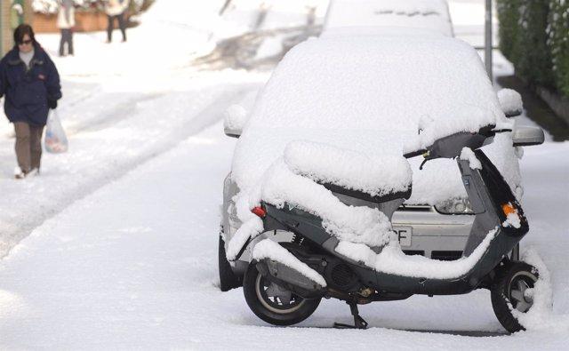 Intensa nevada en La Fresneda, Asturias